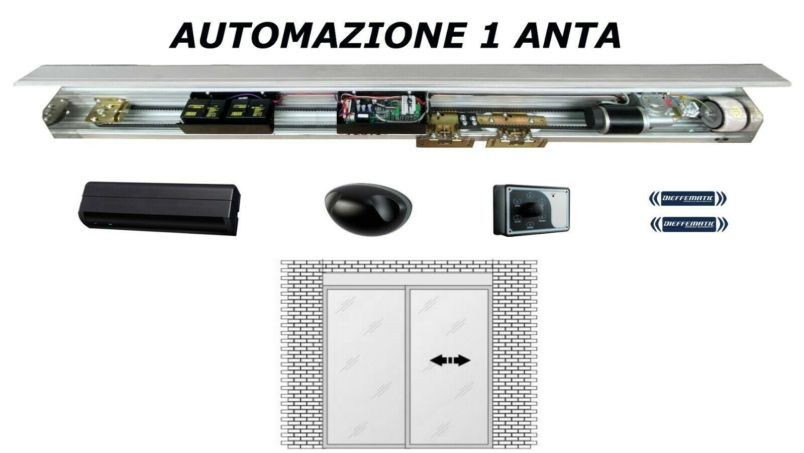 PORTA AUTOMATICA SCORREVOLE 1 ANTA COMPLETA DI ACCESSORI INGRESSO AUTOMATICO 24V