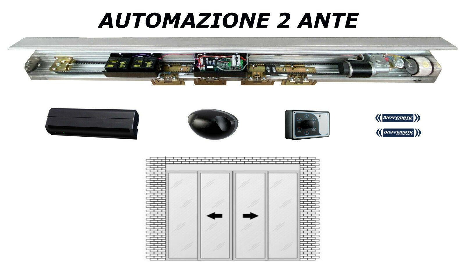 Porta automatica intensiva DIEFFEMATIC composizione per doppia anta max 80+80Kg
